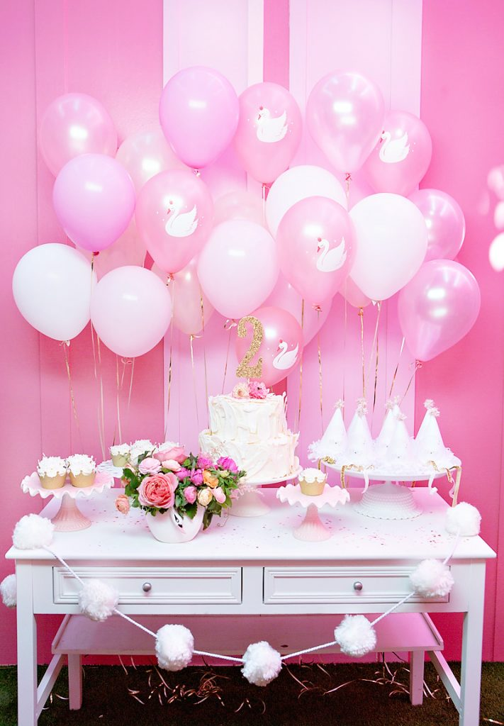 Pink and White Swan Themed Birthday Party