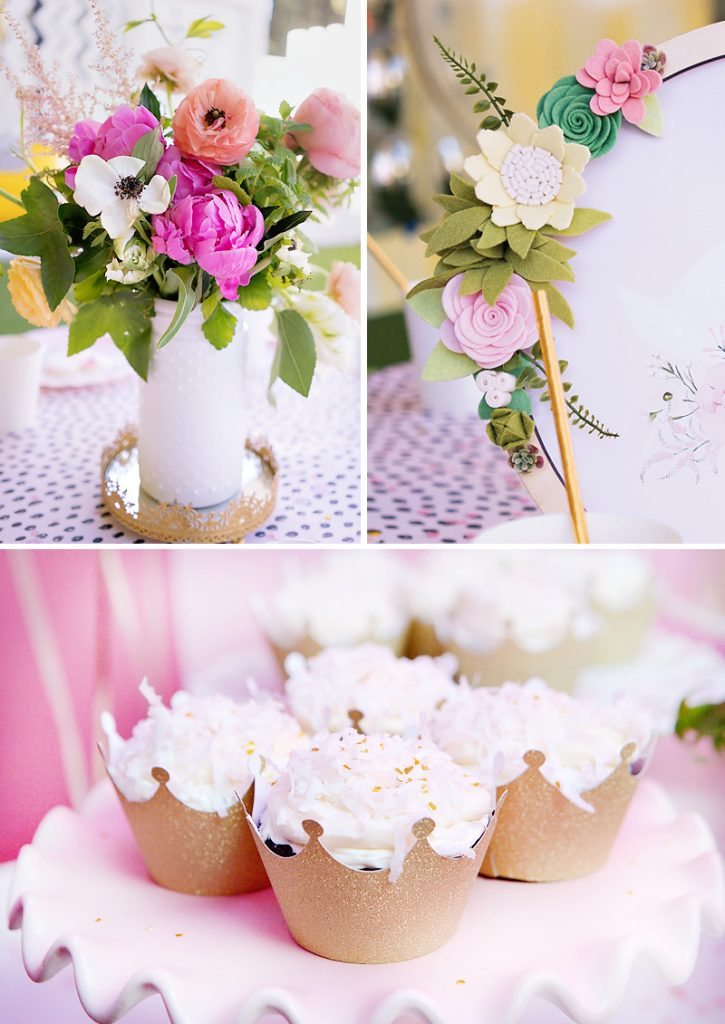 pink white and gold flowers and cupcakes