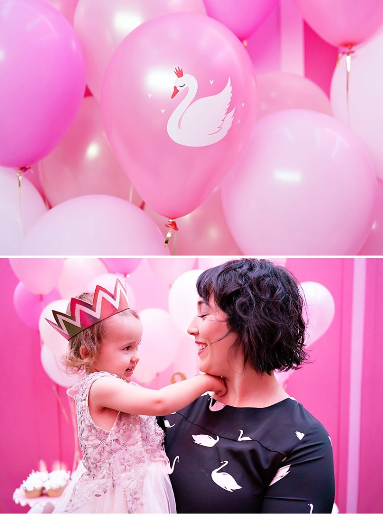 pink and white swan balloons and birthday party