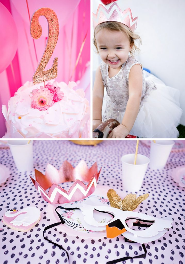 swan themed birthday party with swan mask and princess crown