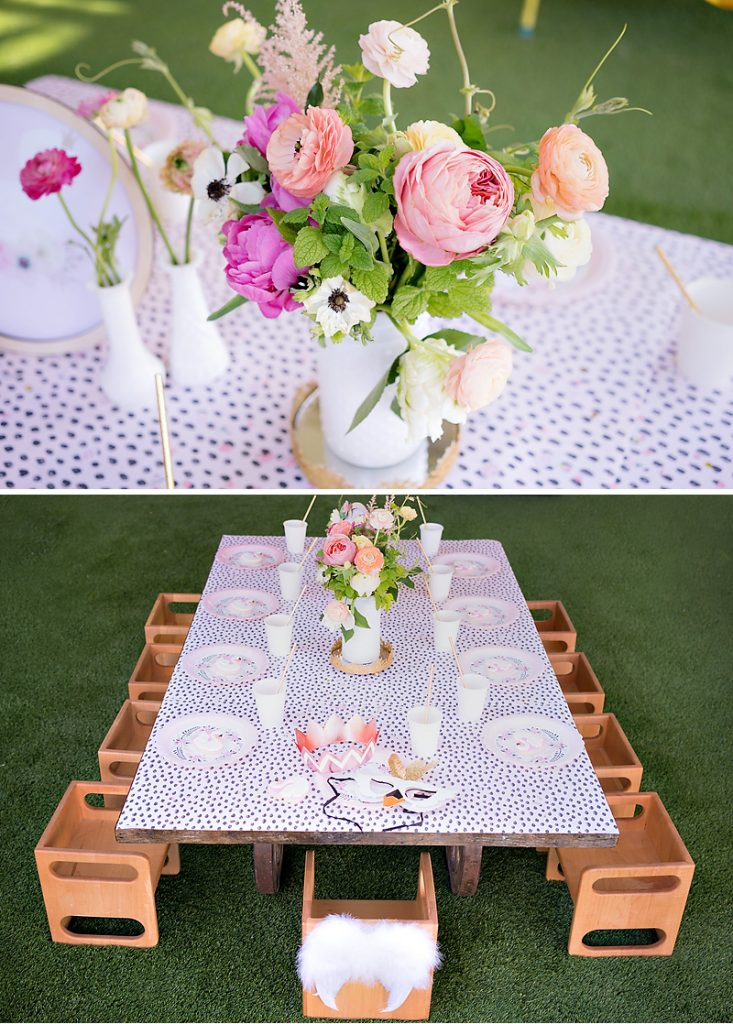 glam swan themed birthday party table