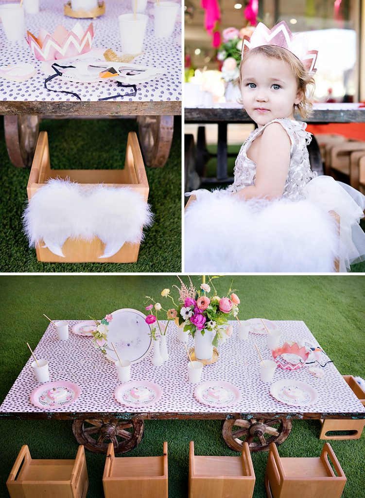 swan feather chair and kids party table
