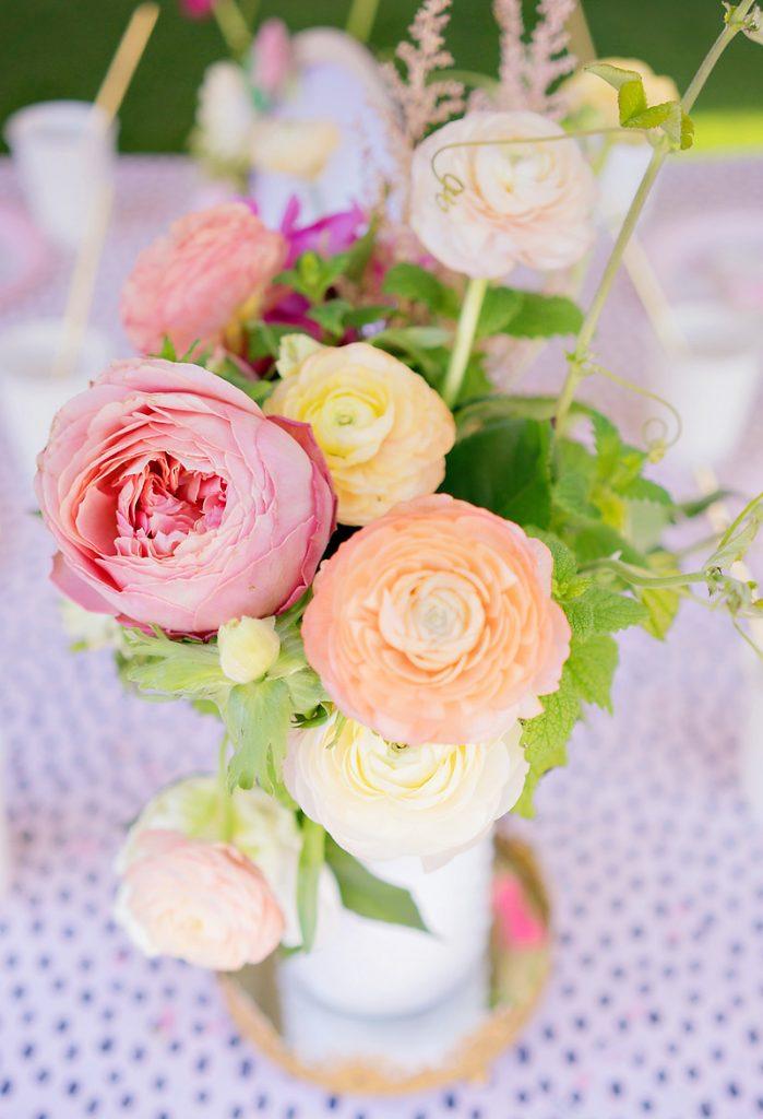 pink and orange flower centerpiece