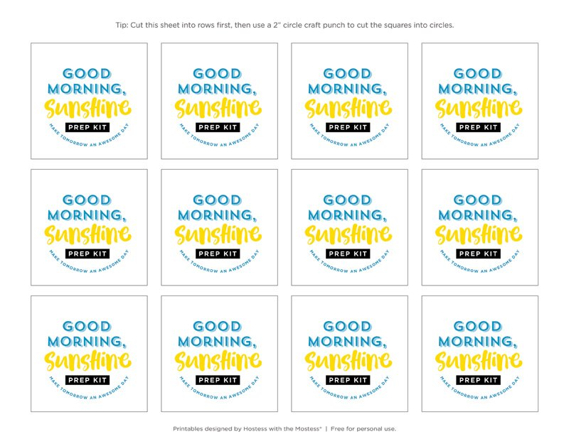 Good Morning Sunshine Favor Tags - Free Printable