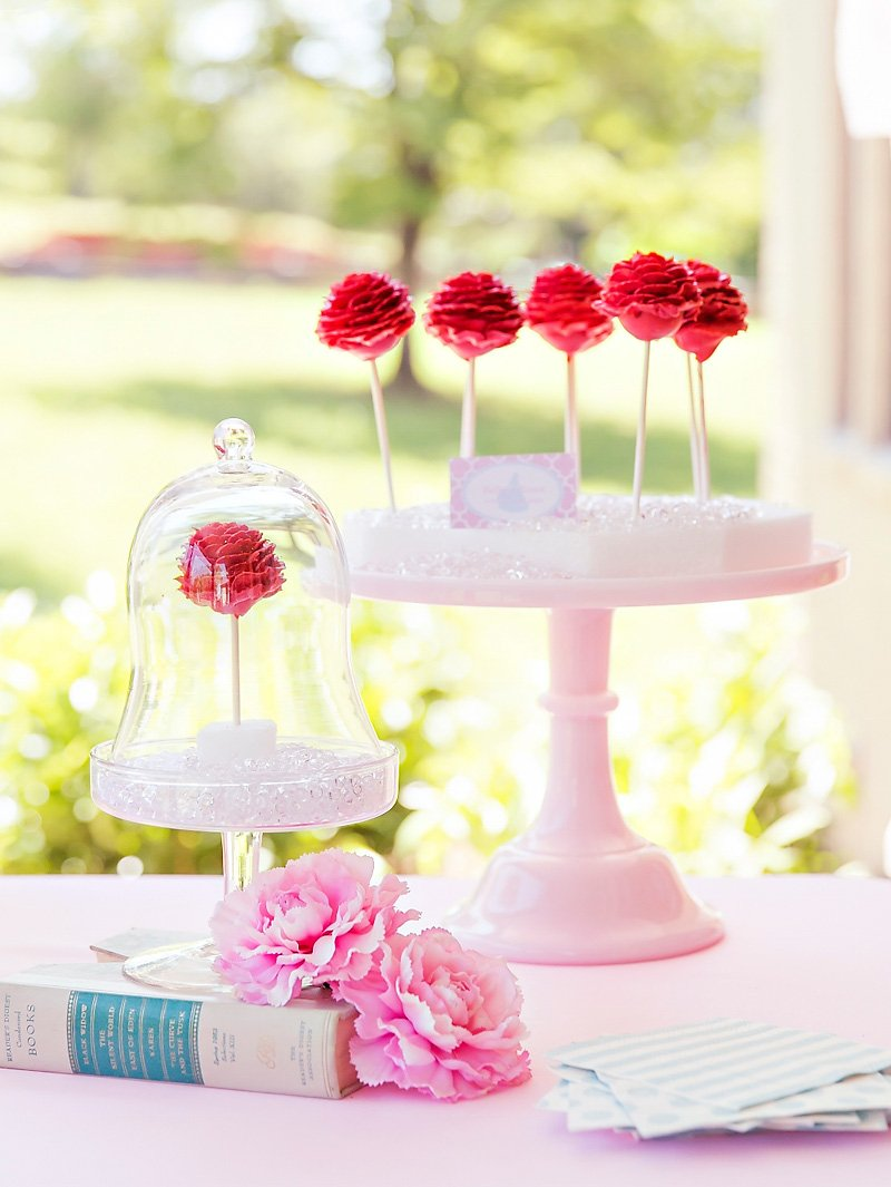Beauty and the Beast Rose Cake Pops