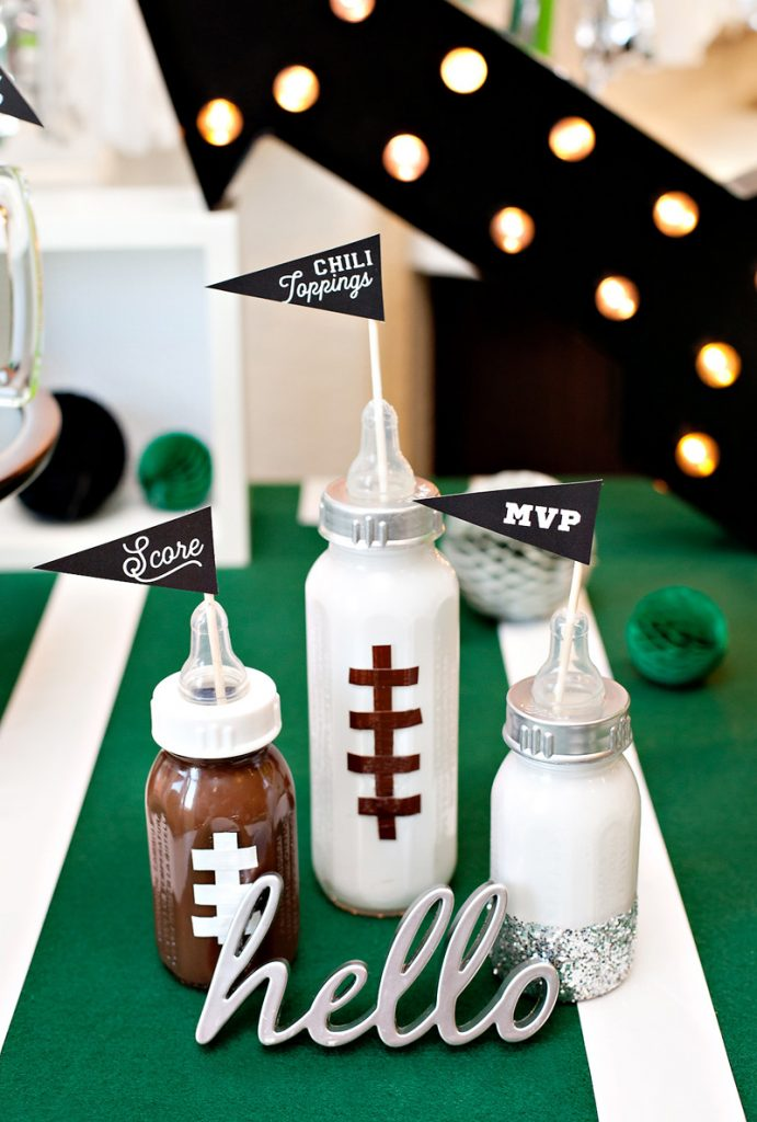 DIY football baby bottles - baby shower decorations