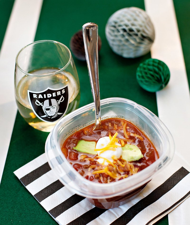 football party chili and wine