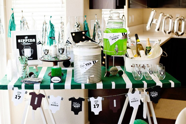 football baby shower sip and see with nfl homegating hostess