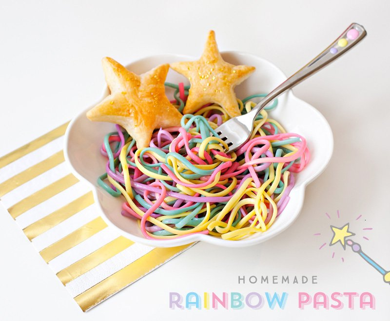 Rainbow Pasta with Star Shaped Puffs