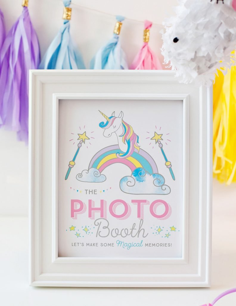 Unicorn Party Photo Booth Sign - Free Printable