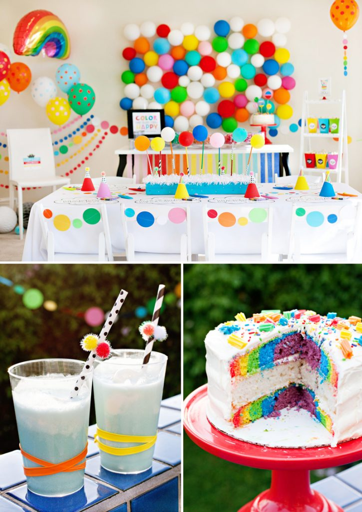 modern rainbow birthday party ideas