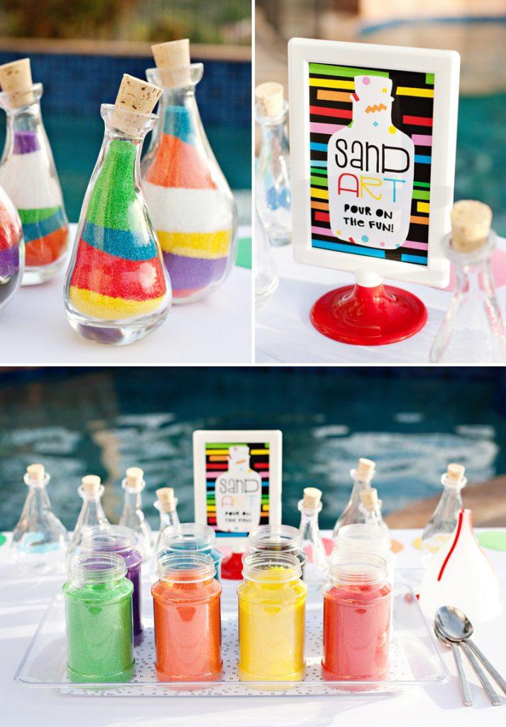 rainbow party sand art activity