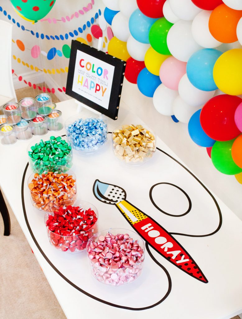 rainbow party favor table
