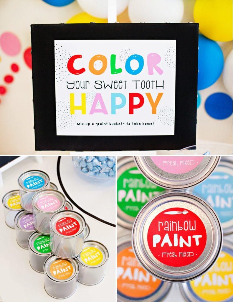 rainbow party favors - mini paint buckets