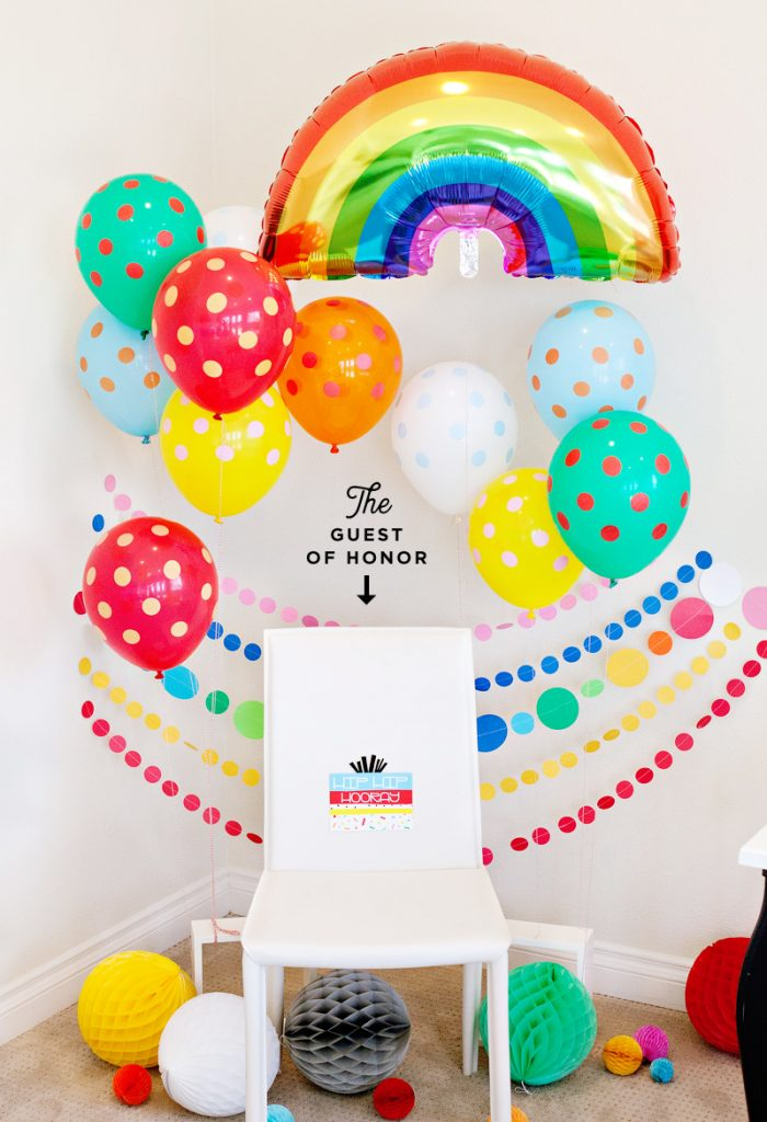 rainbow party balloons - guest of honor chair