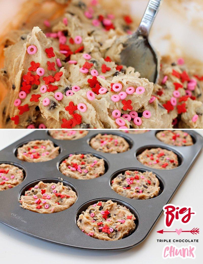 chocolate chip valentine's day cookies