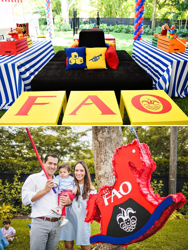 FAO Schwarz Toy Birthday Party Ideas - Pinata and Tables