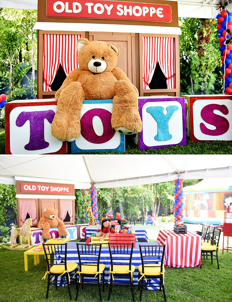 Toy Birthday Party Backdrop and Kids Tables
