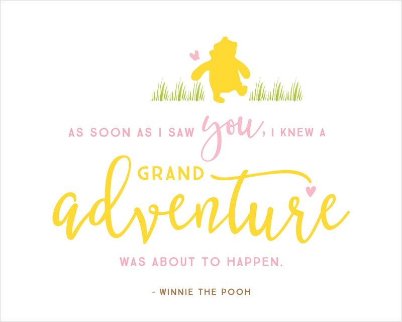 Winnie The Pooh Baby Shower Printables Quotes Pink Yellow Gorgeous Quotes For Baby Shower