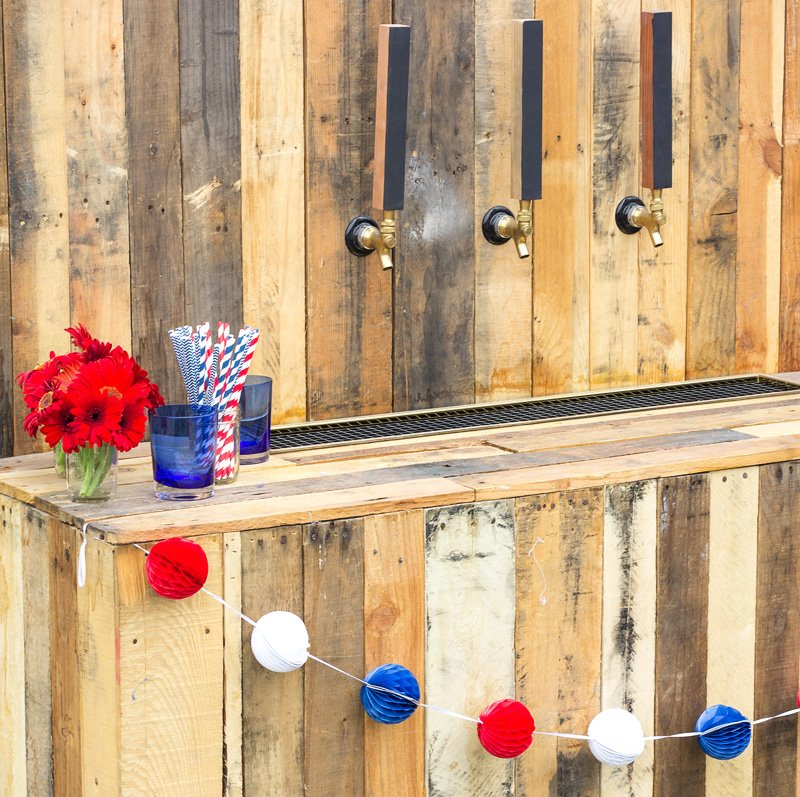 beer tap bar rental - wood panels