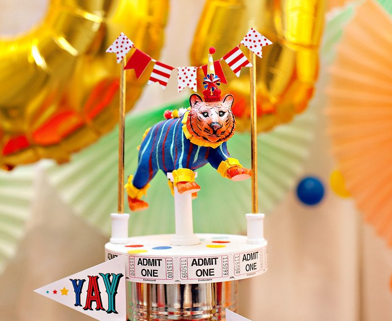 circus party tiger centerpiece