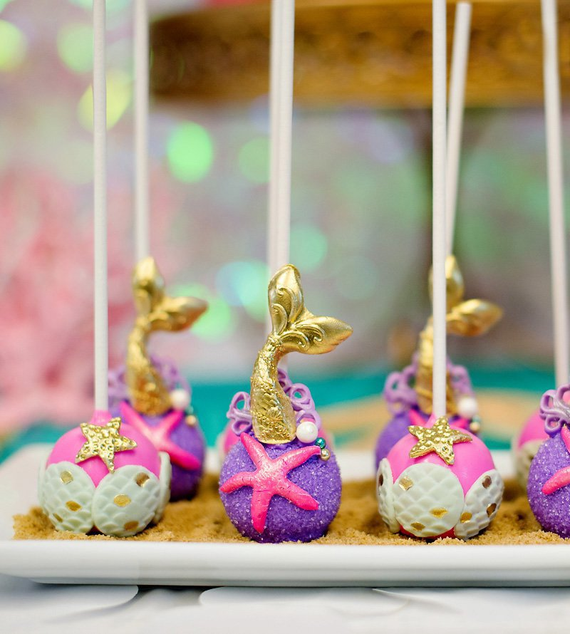 mermaid party cake pops