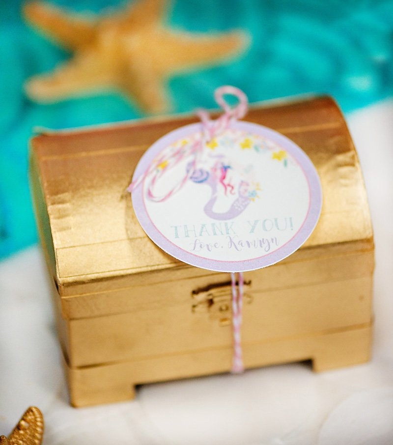 mermaid party favors - gold treasure chests