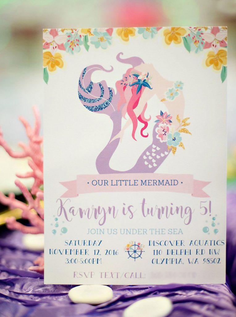 mermaid party printable invitation