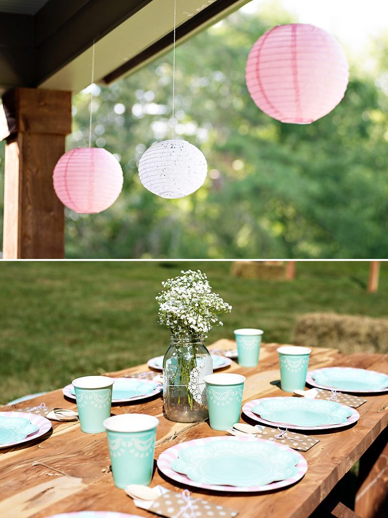 pink and mint shabby chic party