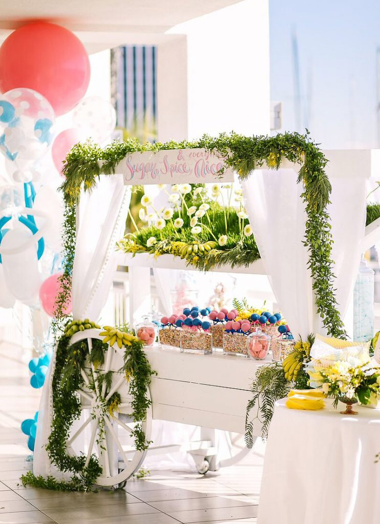 pink and blue baby shower dessert cart