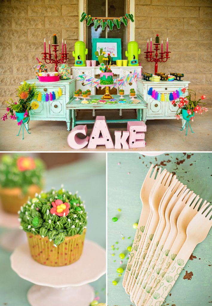 Cactus Party Dessert Table and Cactus Cupcakes