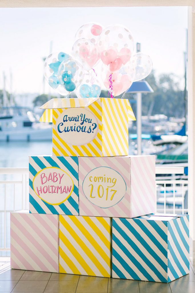 DIY Gender Reveal Boxes - Modern Curious George Theme