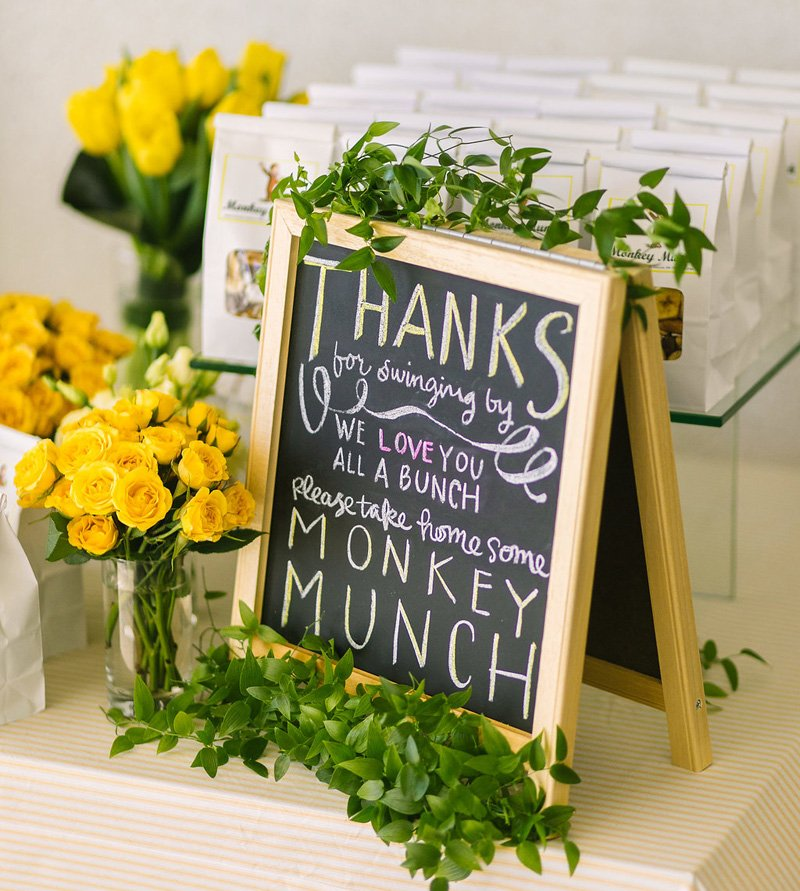 chalkboard signage - Curious George party favors