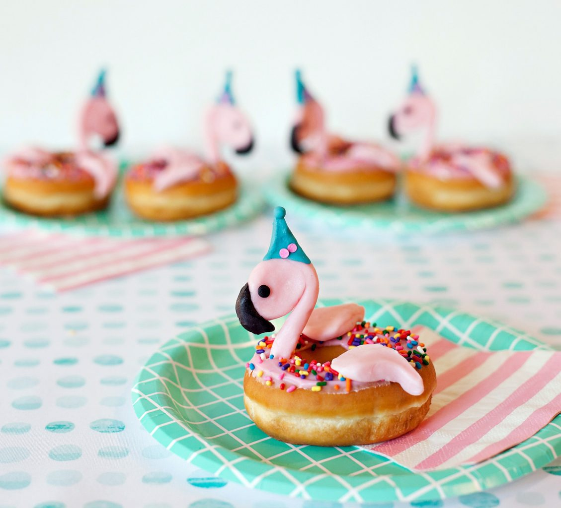 Flamingo Donuts with Party Hats
