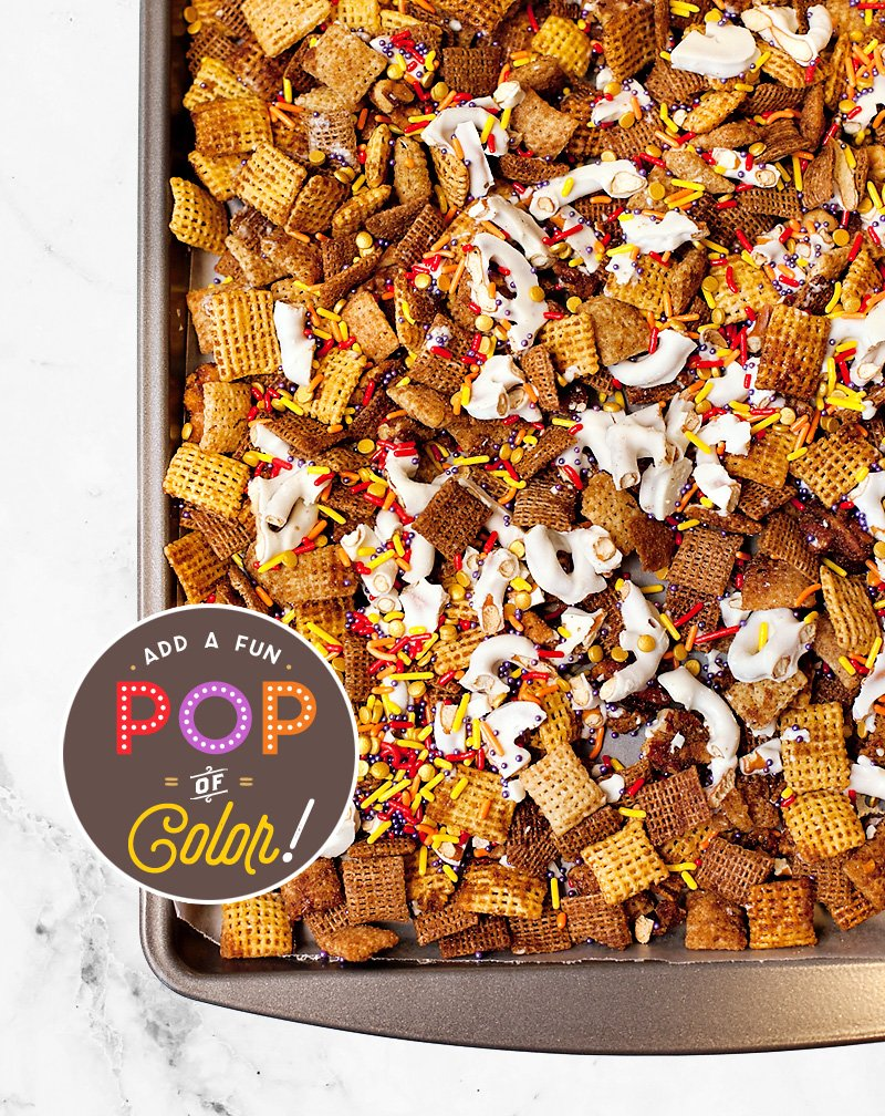Pumpkin Spice Chex Mix with Sprinkles