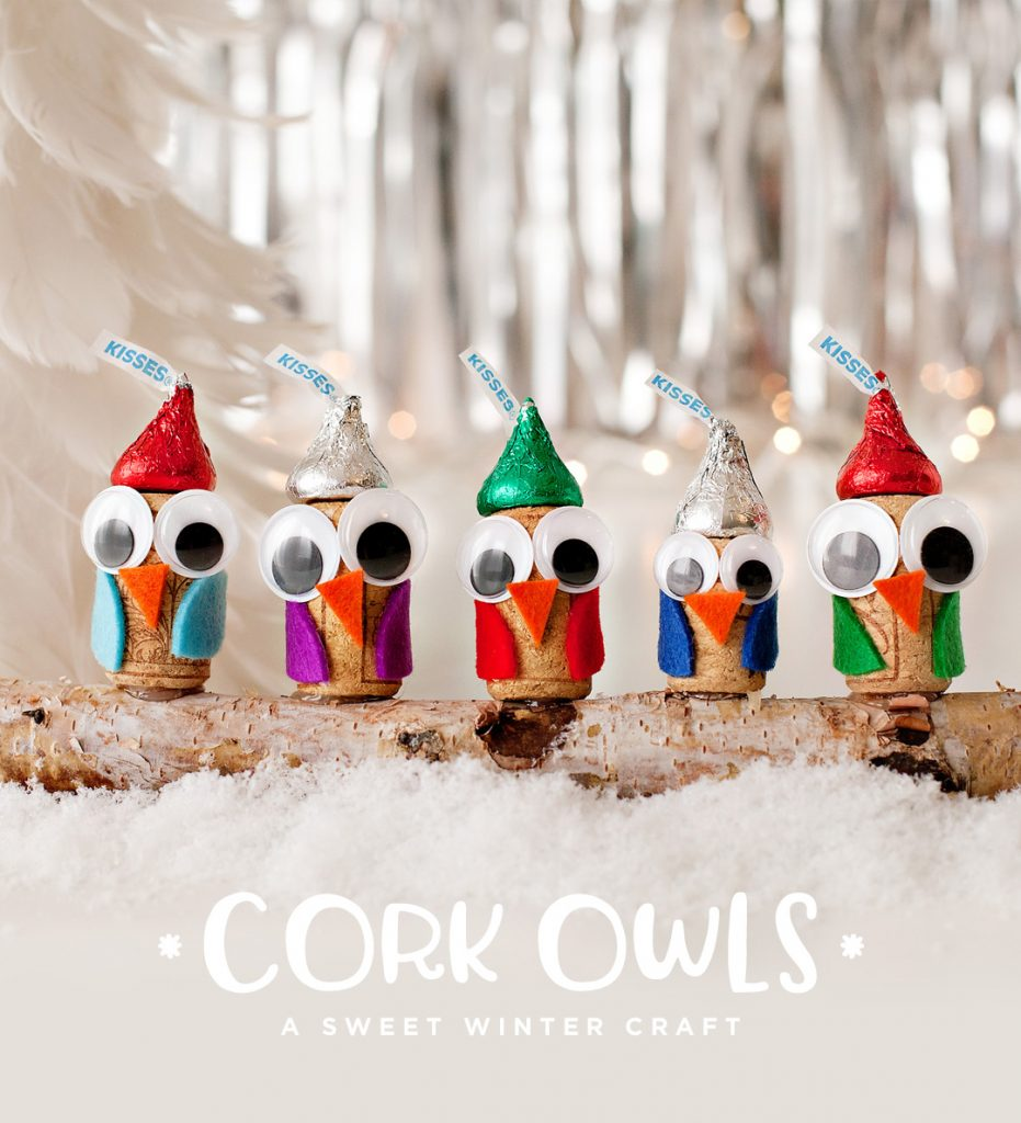 DIY wine cork owls in holiday hats