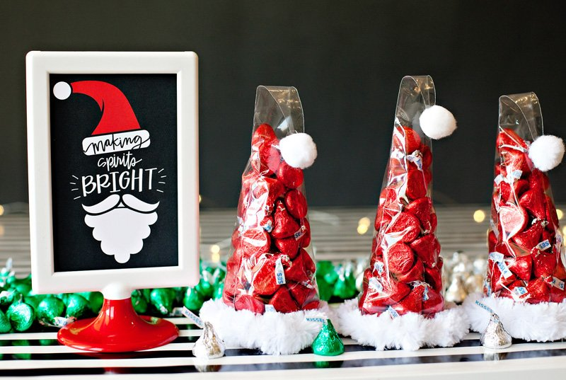 Santa hat treat cones