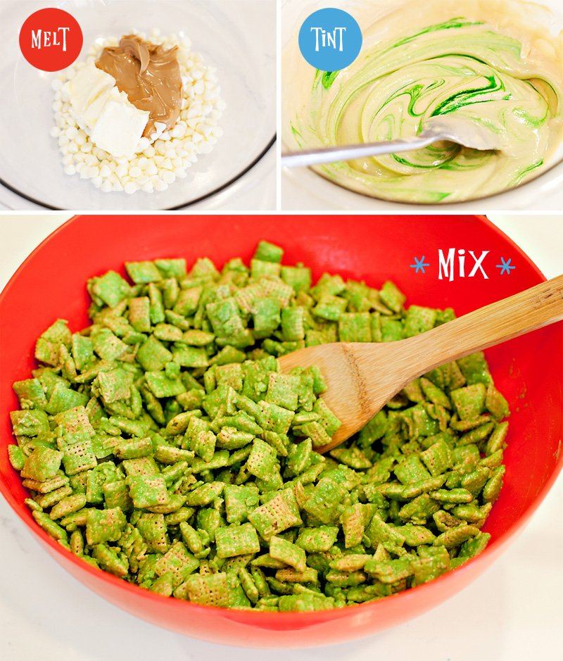 Grinch Inspired Muddy Buddies Snack Mix // Hostess With