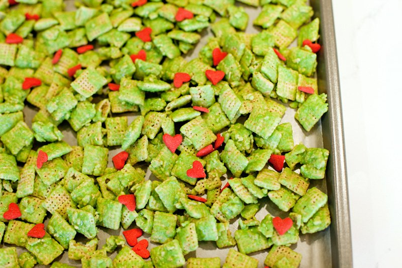 Green Chex with Red Heart Sprinkles