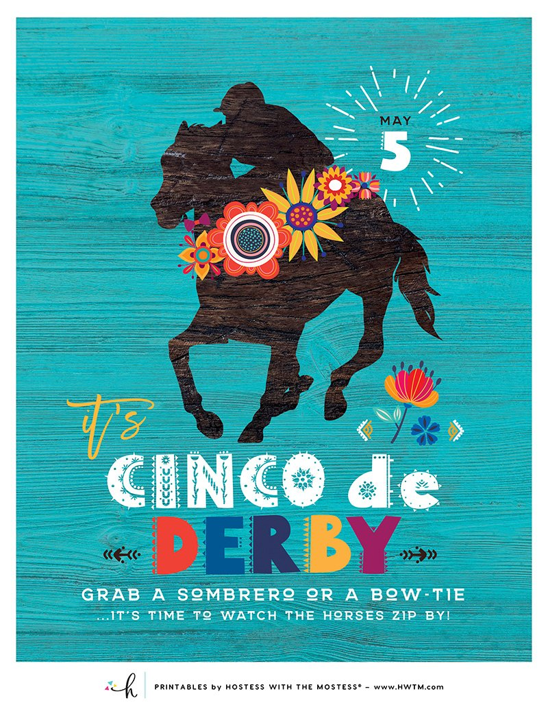 Cinco de Derby - Printable Party Sign