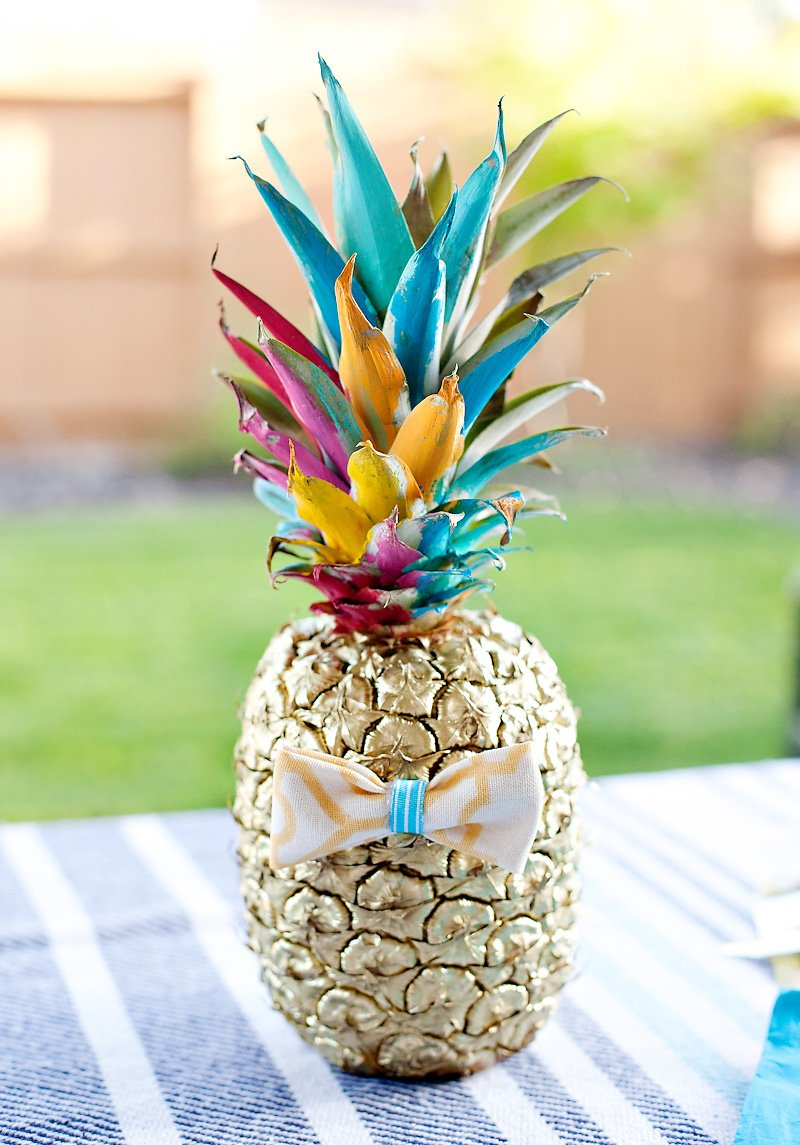 DIY Painted Gold Pineapple with Bow Tie