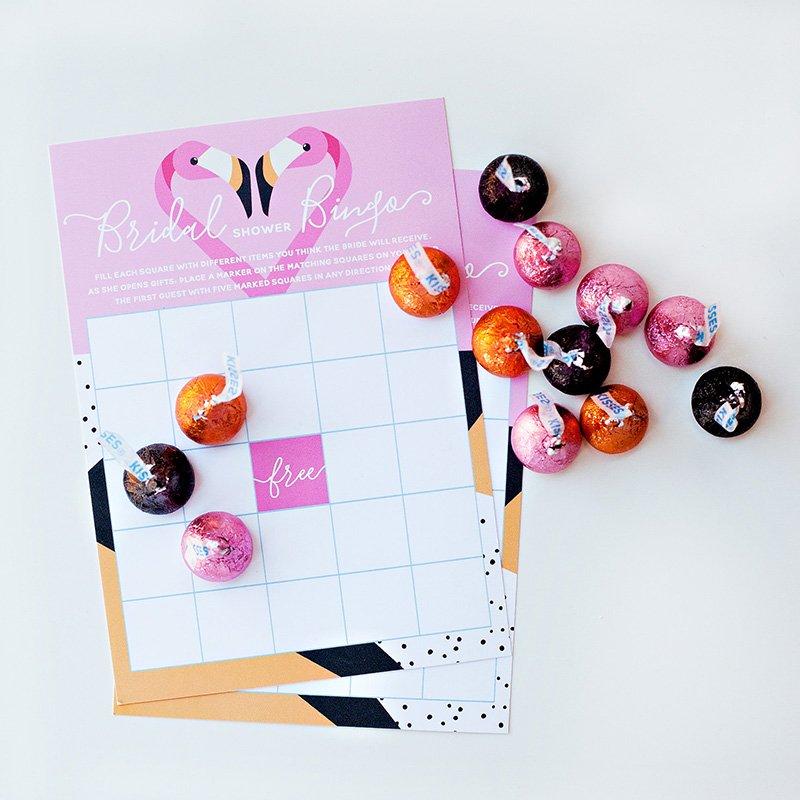 Flamingo Bridal Bingo Card