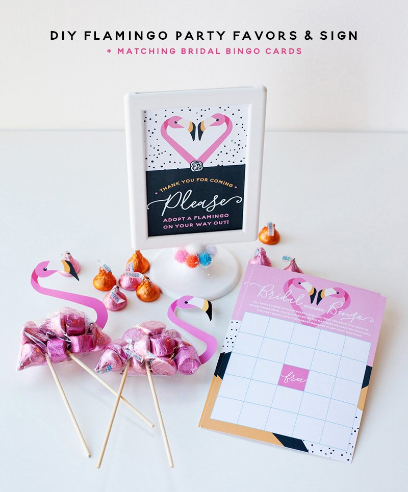 Flamingo Favors, Sign, and Bridal Bingo Card