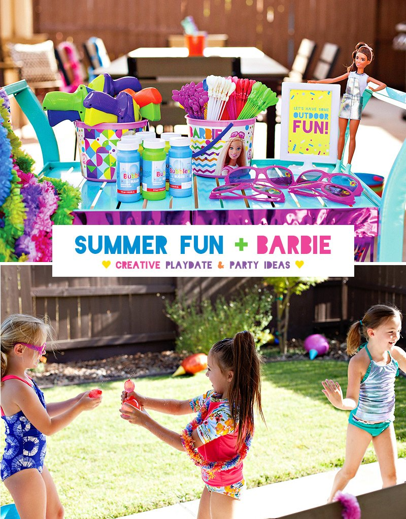Outdoor Summer Playdate Ideas - Barbie Inspired