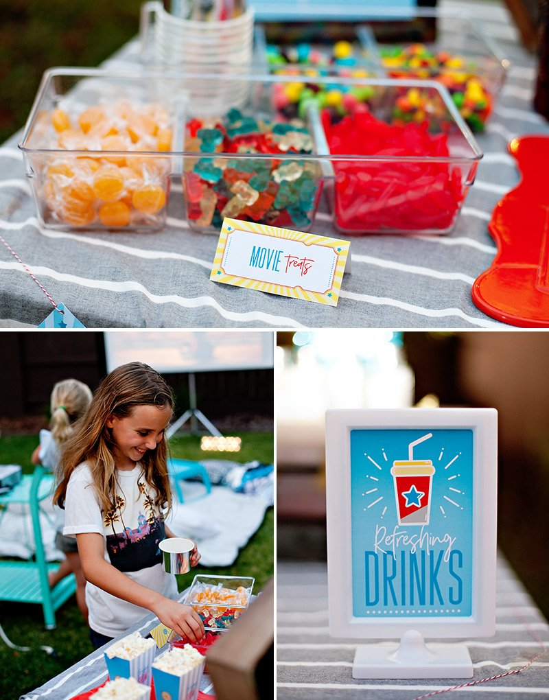 Movie Night Candy Treats and Drinks Sign