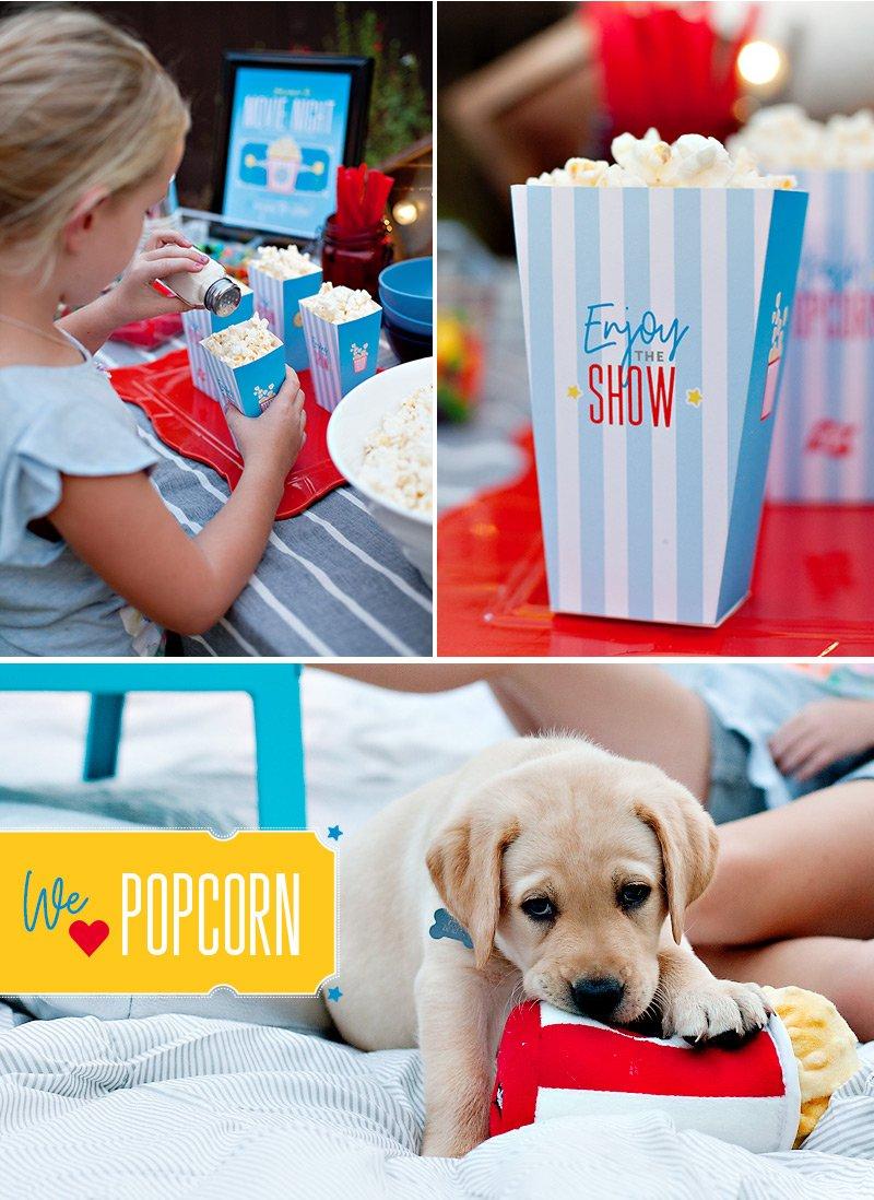 Printable Popcorn Cones for Home Movie Night
