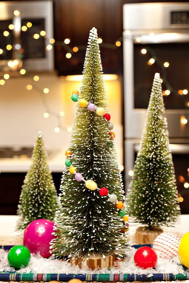 bottlebrush Christmas trees and felt garlands