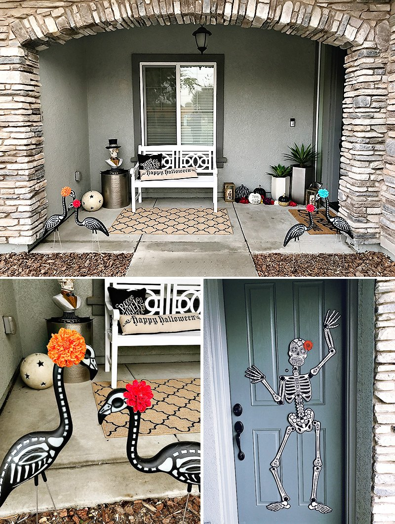Dia de los Muertos flamingos and door decorations