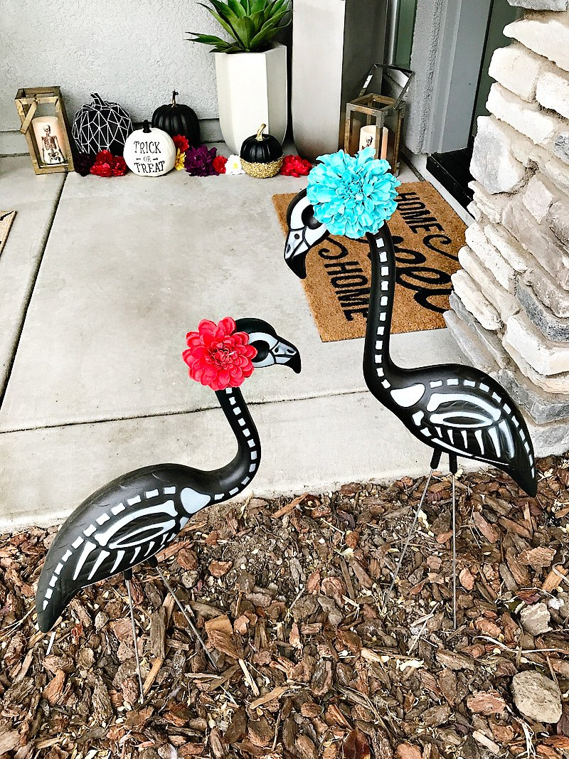 Day of the Dead Lawn Flamingos