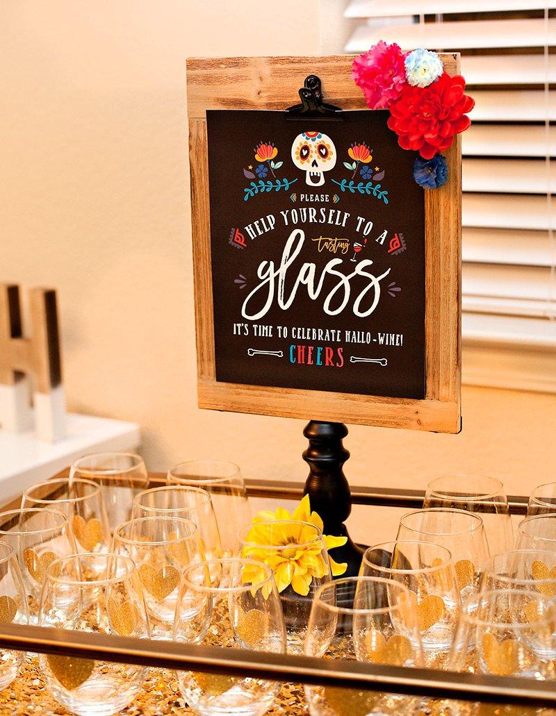 Dia de Los Muertos Wine Tasting Sign